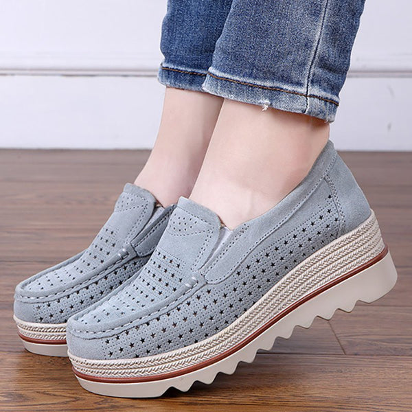Women Flocking Creepers Casual Comfort Slip Slop Shoes