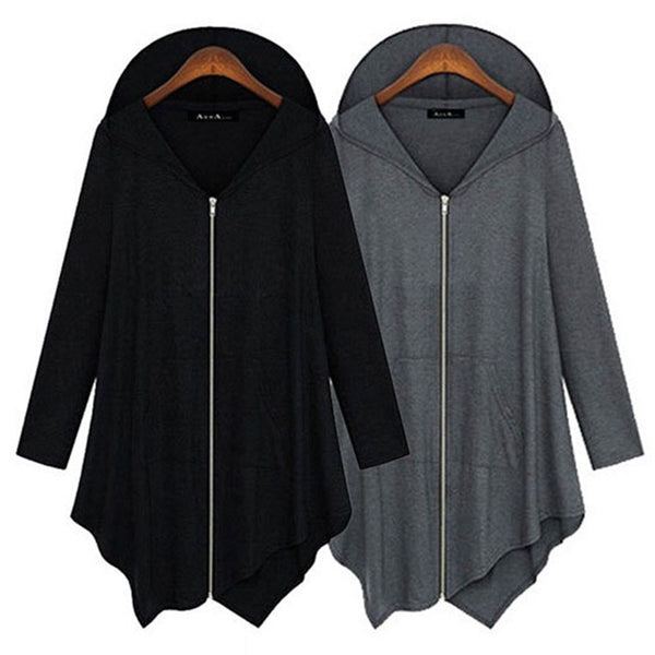Women Hoodie Long Sleeve Solid Asymmetric Plus Size Coat