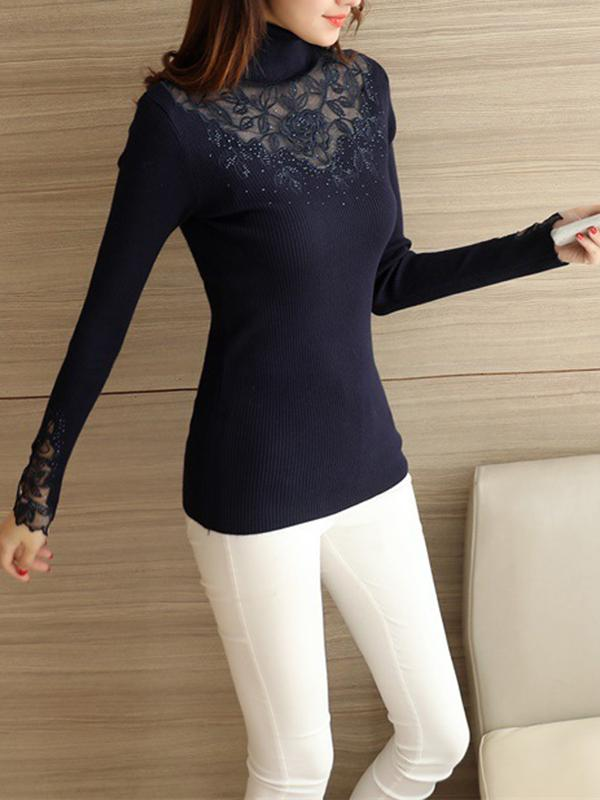 Women Long Sleeve Stretchy Knitted Sweater Pullovers