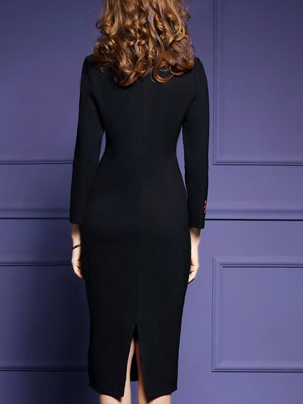 Black Women Embroidered Long Sleeve Sheath Dress Plus Size