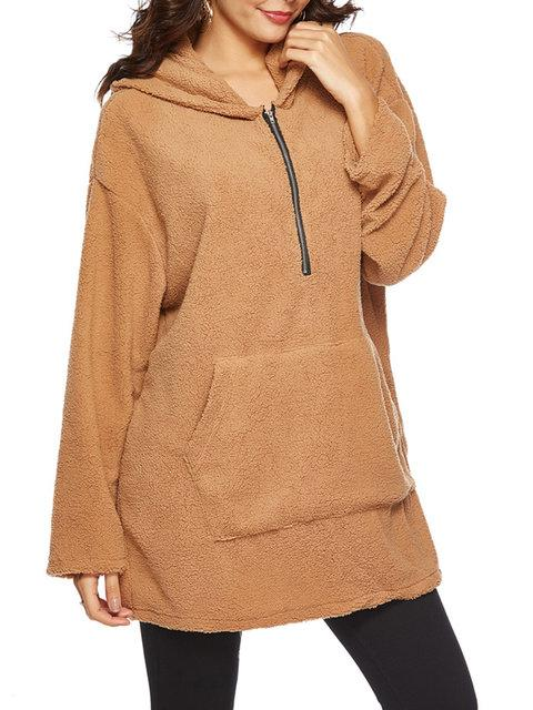 Women Long Sleeve Zipper Pockets Hoodie