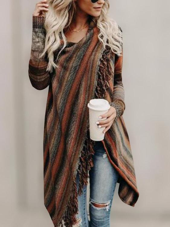 Women Orange Stripe Pattern Tassel Details Long Sleeves Sweater Outerwear