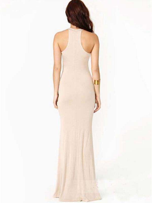 Women Round Neck Slim Maxi Dresses
