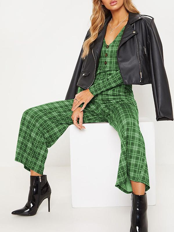 Women's Long Sleeve Button Plaid Jumpsuits