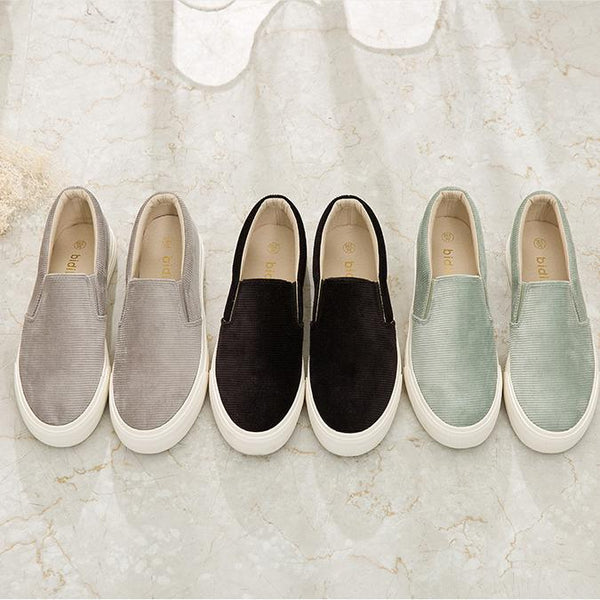 Corduroy Surface Plain Canvas Loafer
