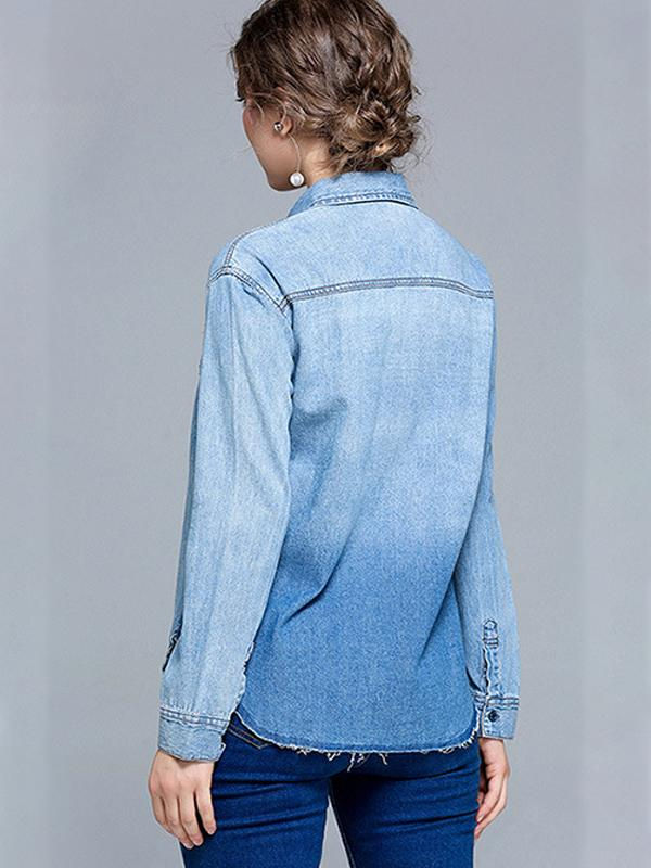 Women Embroidered Long Sleeve Washed Denim Shirts