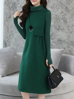 Women Elegant knit Turtleneck Midi Dresses
