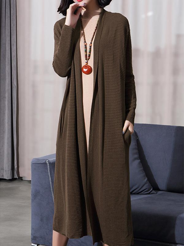 Women Elegant Solid Color Knit Cardigan