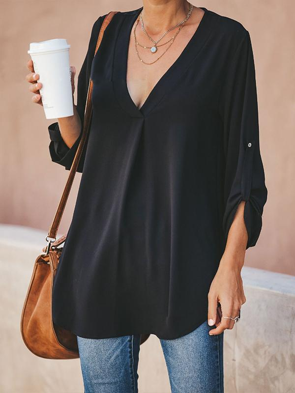 Solid Plus Size V Neck Chiffon Women's Blouse