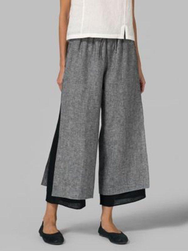 Women Casual Patchwork Pant Loose Pants
