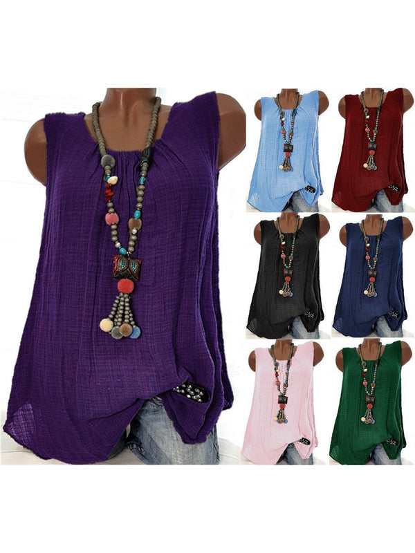 Women Linen Round Neck Sleeveless Casual Tank