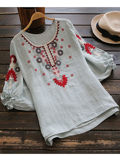 Women Puff Sleeve Detail Floral Embroidery Top