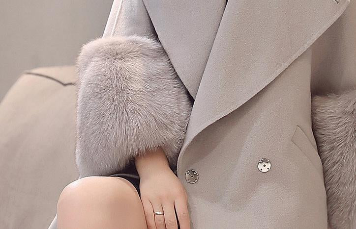 Women Lapel Slit Pocket Plain Batwing Sleeve Long Sleeve Coats