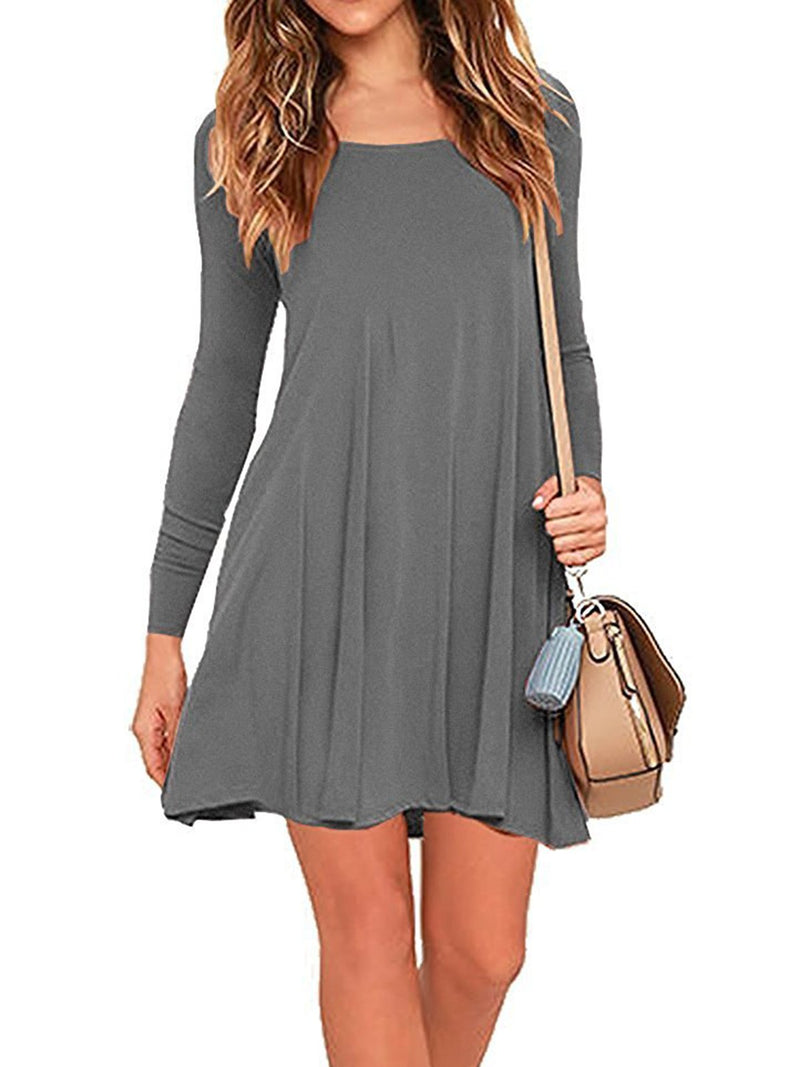 Women Round Collar Long Sleeve Loose Dress with Pocket