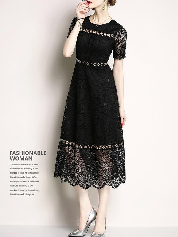 Women Mid-Length Solid Lace Dresses