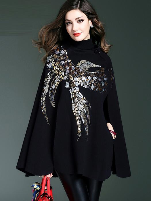 Women Black Elegant Shift Glitter-finished Animal Sweater Poncho