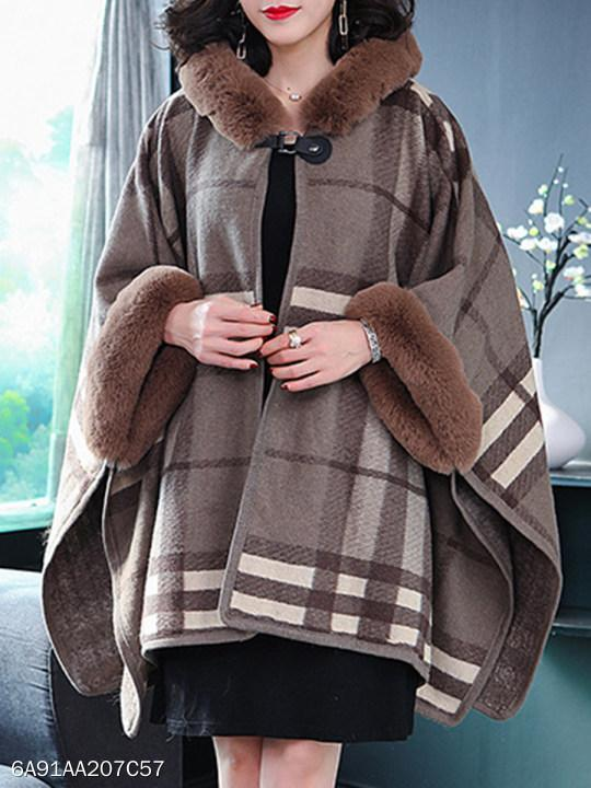 Women Hooded Checkered Cape Coat
