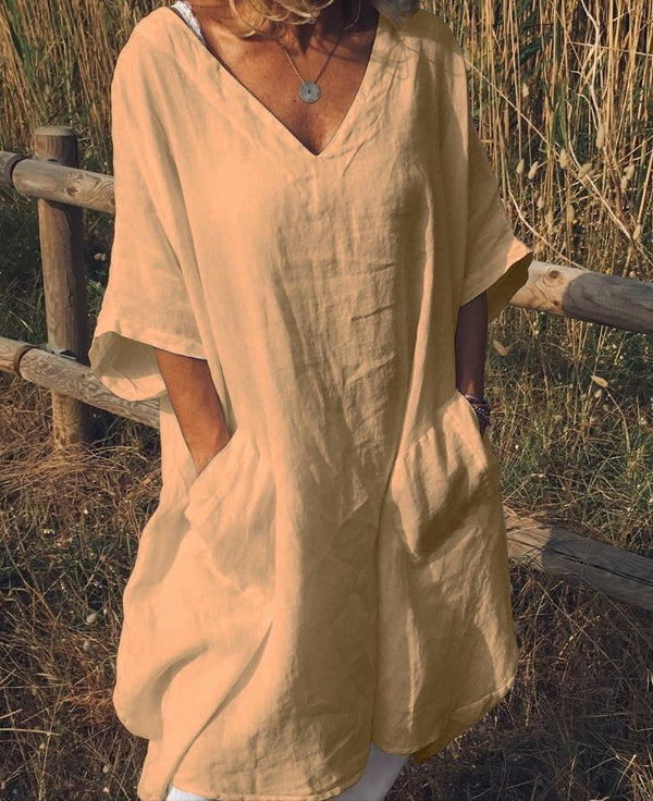 Casual V Neck Half Sleeve Pockets Dresses