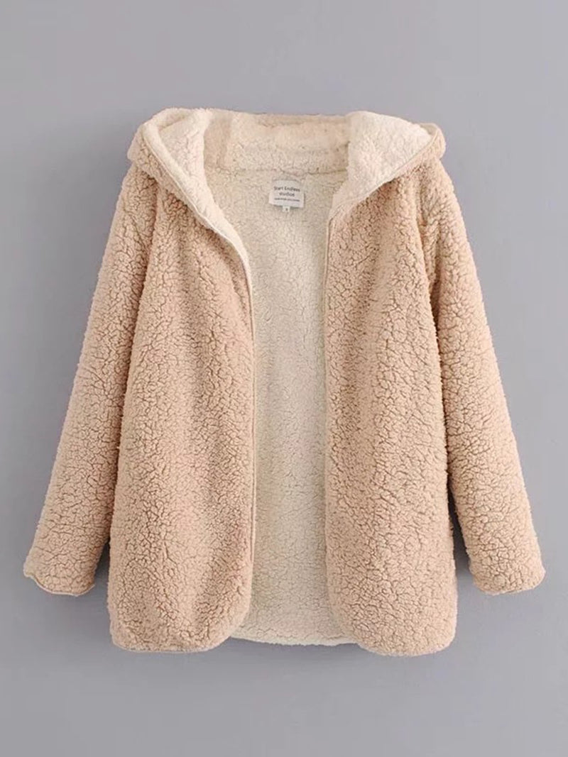 Women Hooded Open Front Lamb Wool Coat