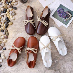 2019 Women Casual Comfort Flats Shoes Lace Up Shoes Leather Students Loafers