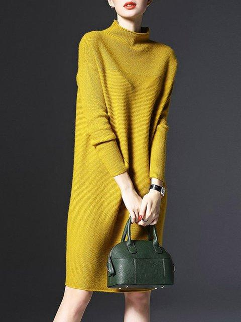 Women Stand Collar A-line Women Daily Knitted Casual Long Sleeve Knitted Solid Casual Dress