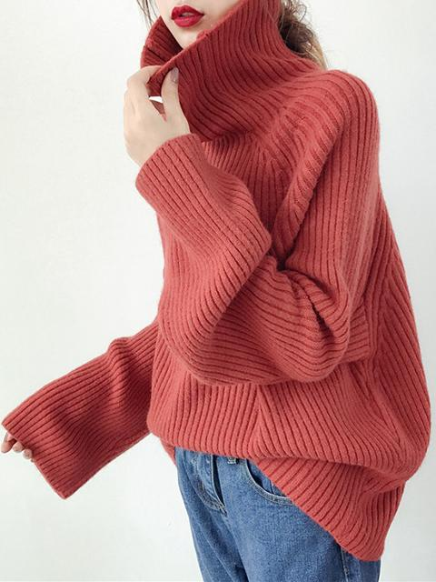 Women Plain Turtleneck Knitwear Pullover Sweaters