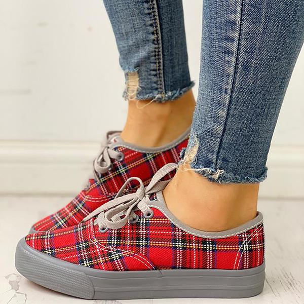Women Casual Plaid Insert Lace-Up Casual Sneakers