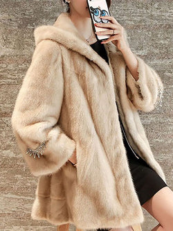 Women Beige Hoodie Fluffy Pockets Fur and Shearling Coat