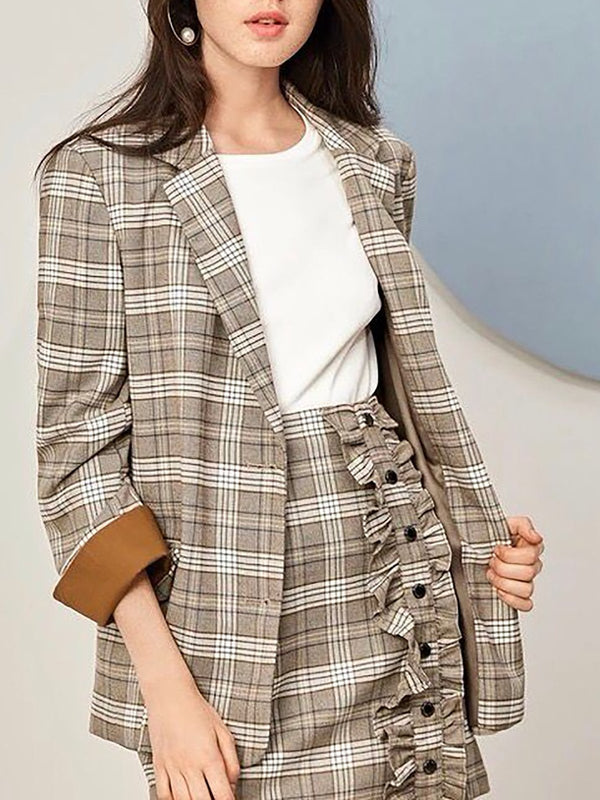 Khaki Checkered/Plaid Work Shift Buttoned Blazer