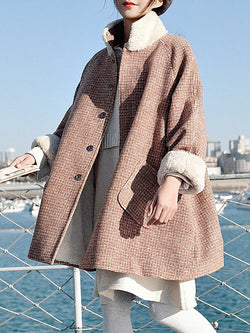Khaki Women Pockets Buttoned Paneled Checkered/plaid Coats