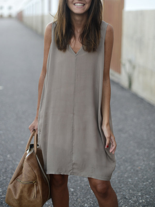 GRAY SOLID A-LINE SLEEVELESS DRESS
