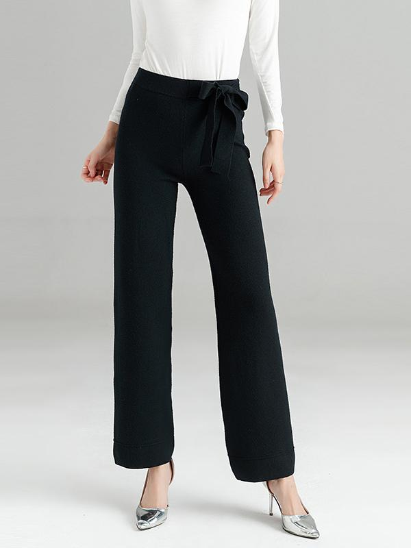 Women Casual Knitting Mid Waist Pants Office Pants
