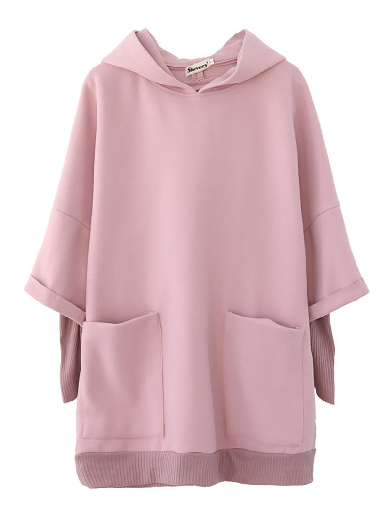 Women Pink Paneled Long Sleeve Hoodie Tunics