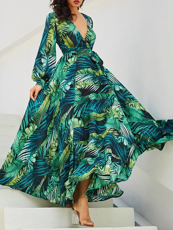 Women V-neck Print Maxi Dresses