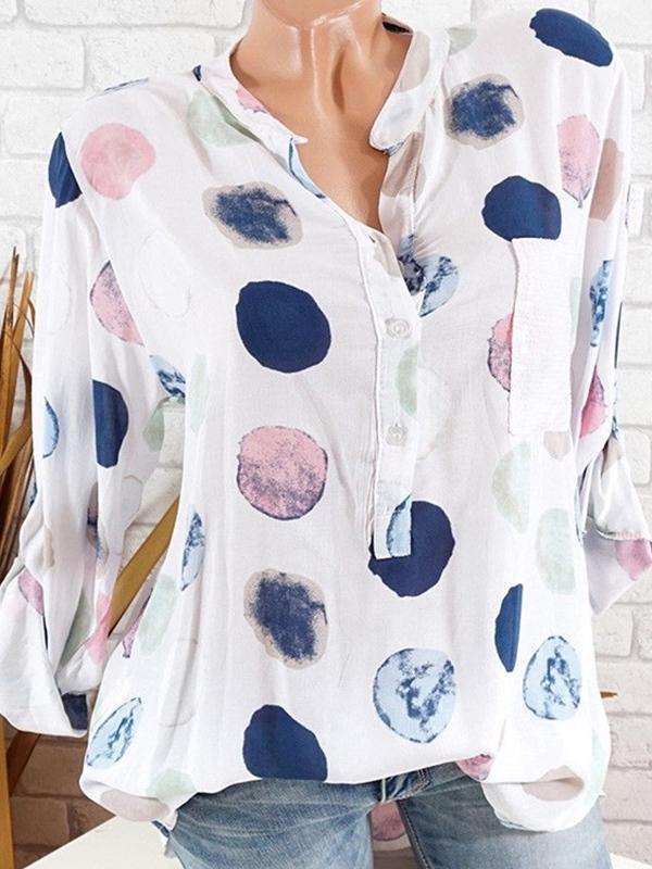 Daily Casual Circle Print Blouse Loose Tops For Women