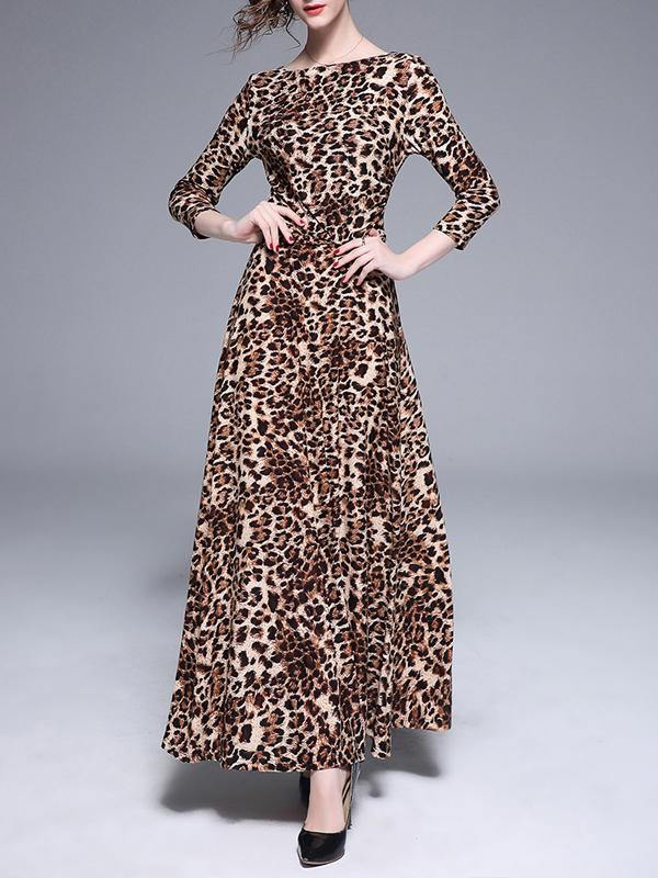 Women 3/4 Sleeve Leopard Print Elegant Maxi Dress