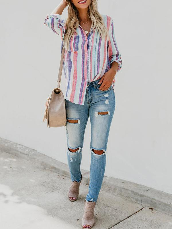 Multicolor Stripes Long Sleeve Women's Shirts