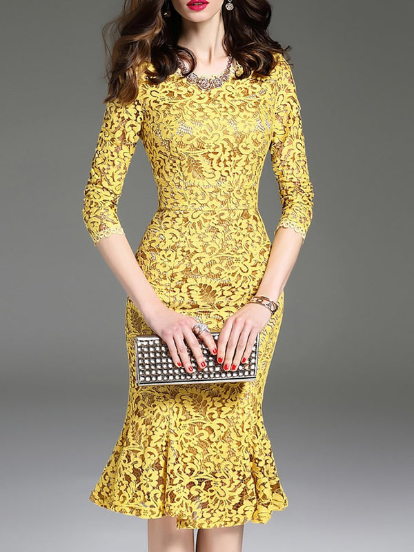 Women Yellow Flounce Elegant Dress Lace Party Midi Dress