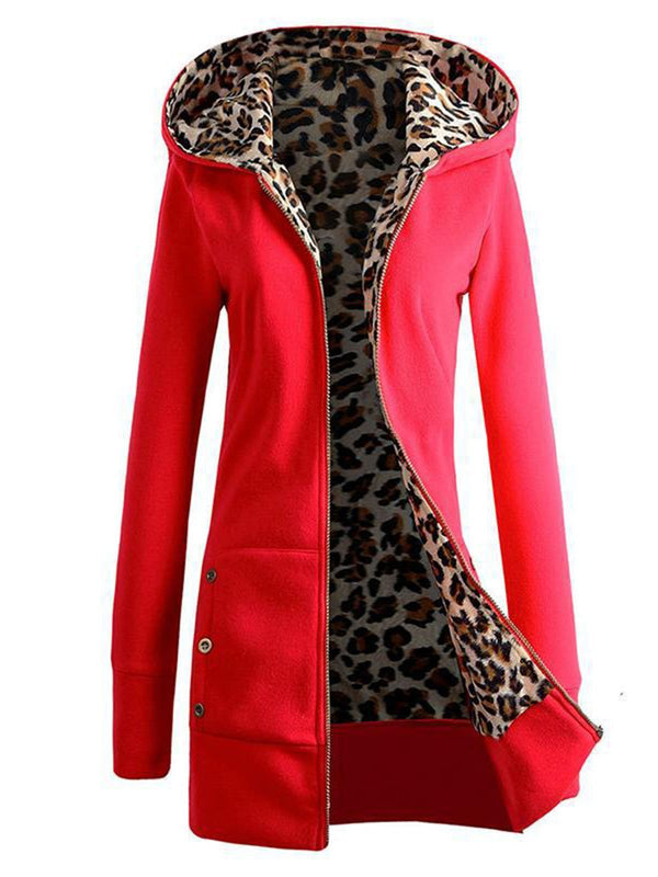 Zipper Leopard Print Plus Size Casual Hoodie Coat