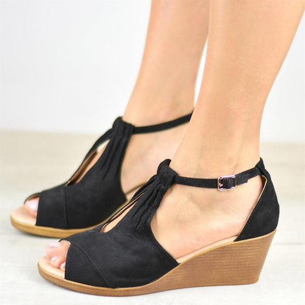 Women Plus Size Comfort Sole Center Cut Wedges Peep Toe Wedge Sandals with Buckle