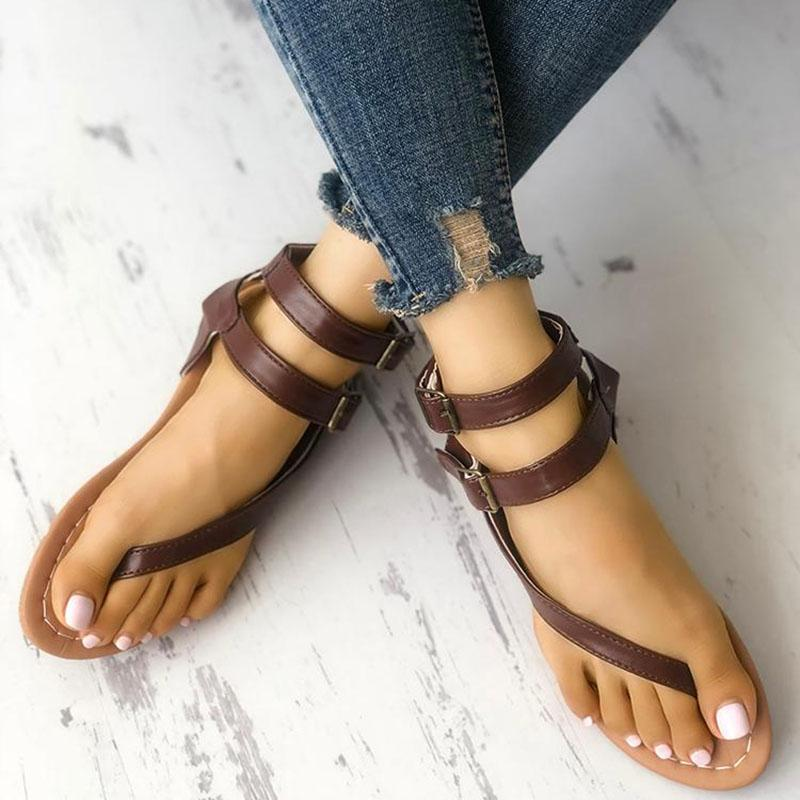 Women Toe Post Buckle Flat Sandals