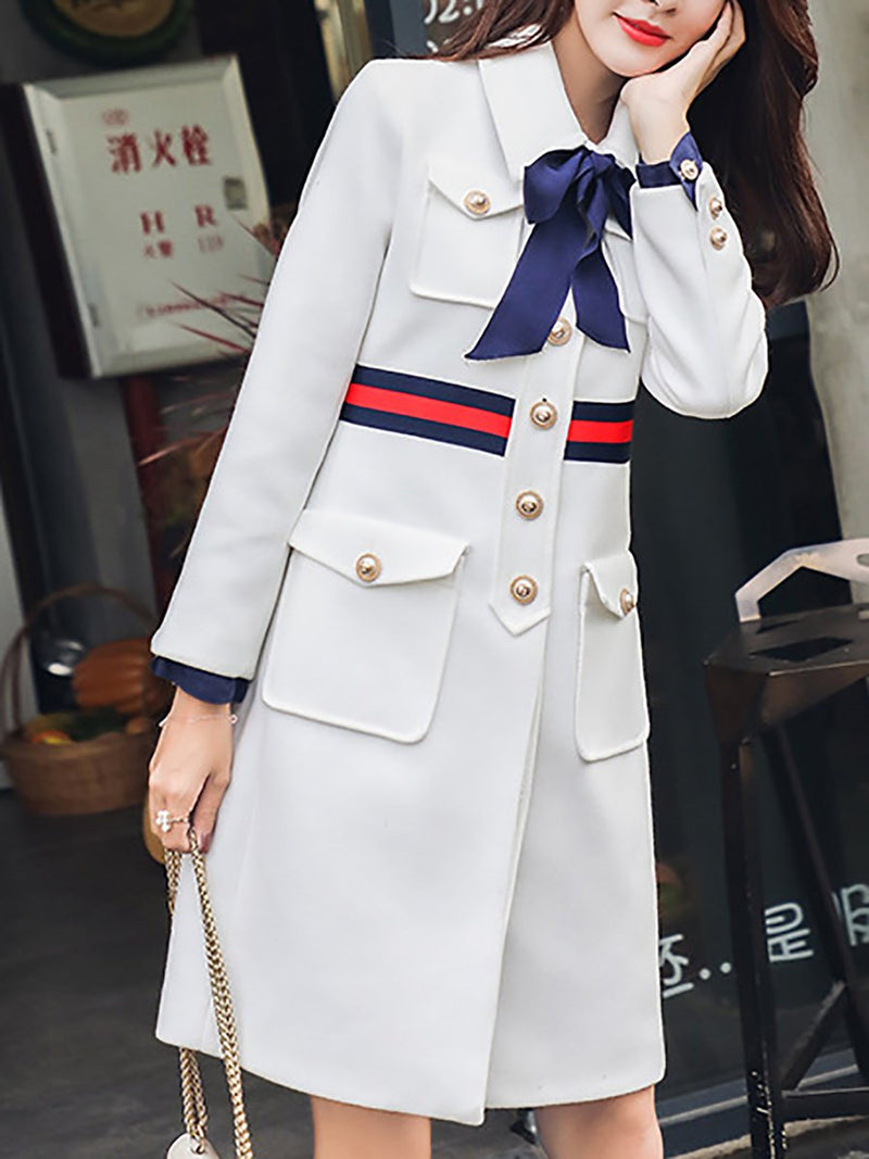 Women Color-Block Tie-Neck Solid Elegant Bow Coats