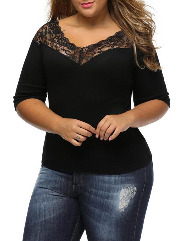 Women 3/4 Sleeve  Laciness V-neck Plus Size Women's Shirts