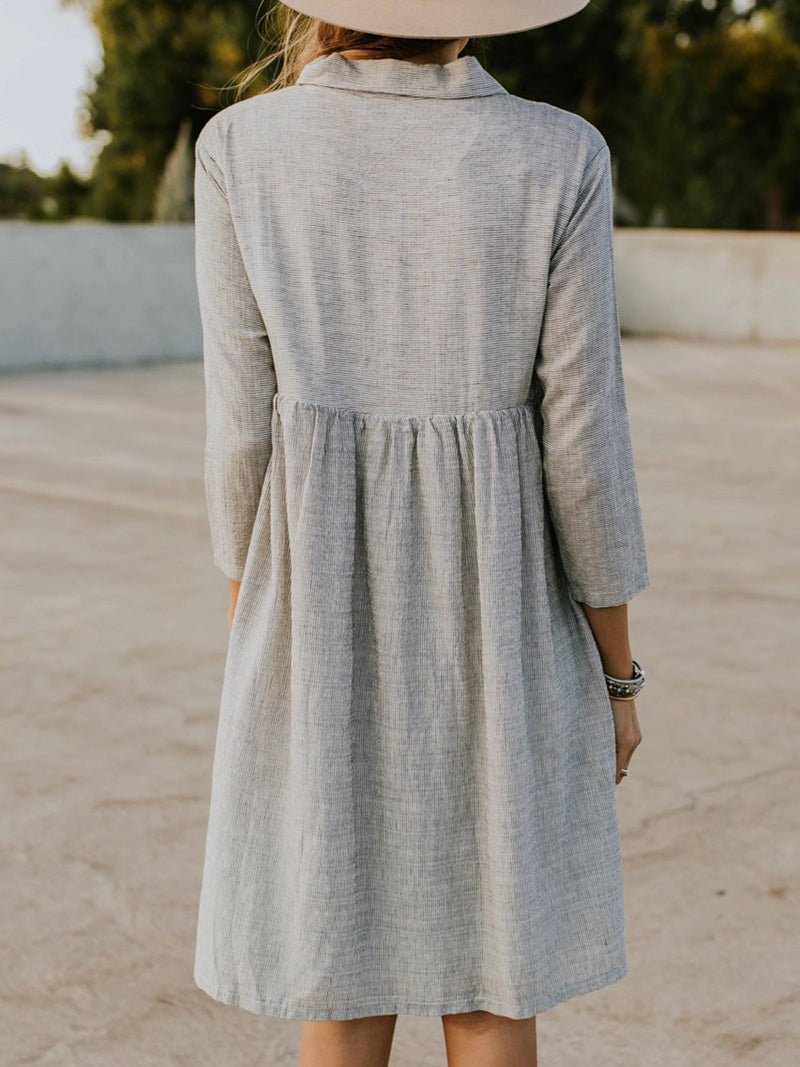 Gray 3/4 Sleeve Striped Dress