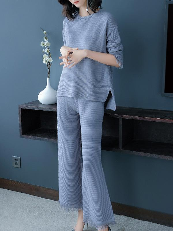 Women Long Sleeve Knitted Elegant Set Outfits