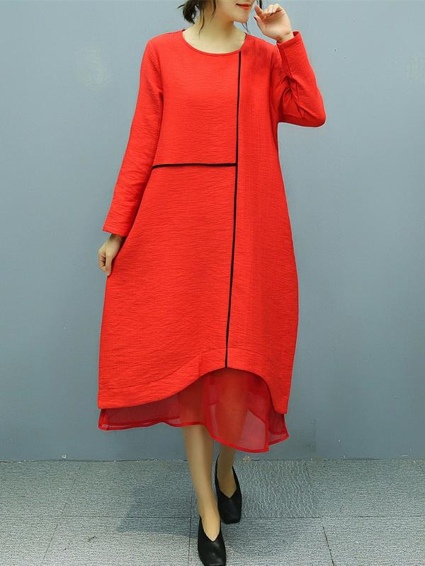 Women Long Sleeve Cotton And Linen Vintege Midi Dress