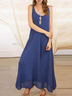 Women Solid Spaghetti Strap Plain Maxi Dress