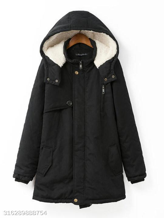 Women Hooded Flap Pocket Plain Fleece Lined Coat