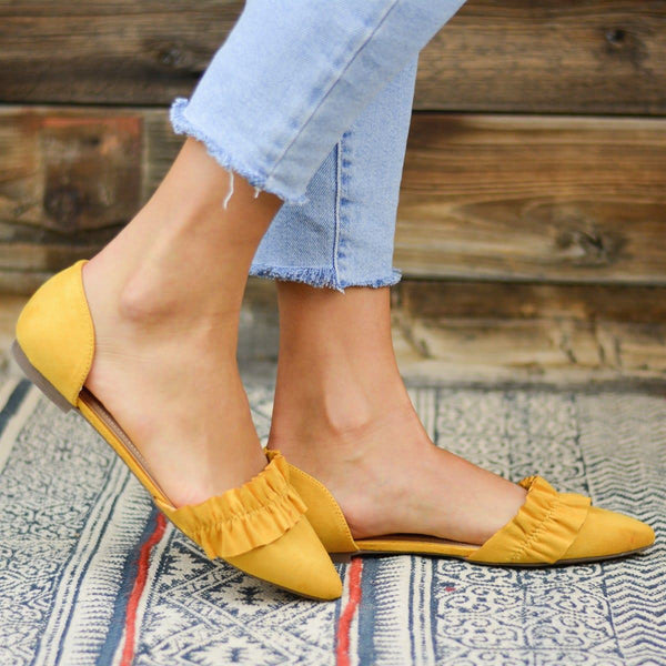 Women Slip-On Flat Ruffled Flats