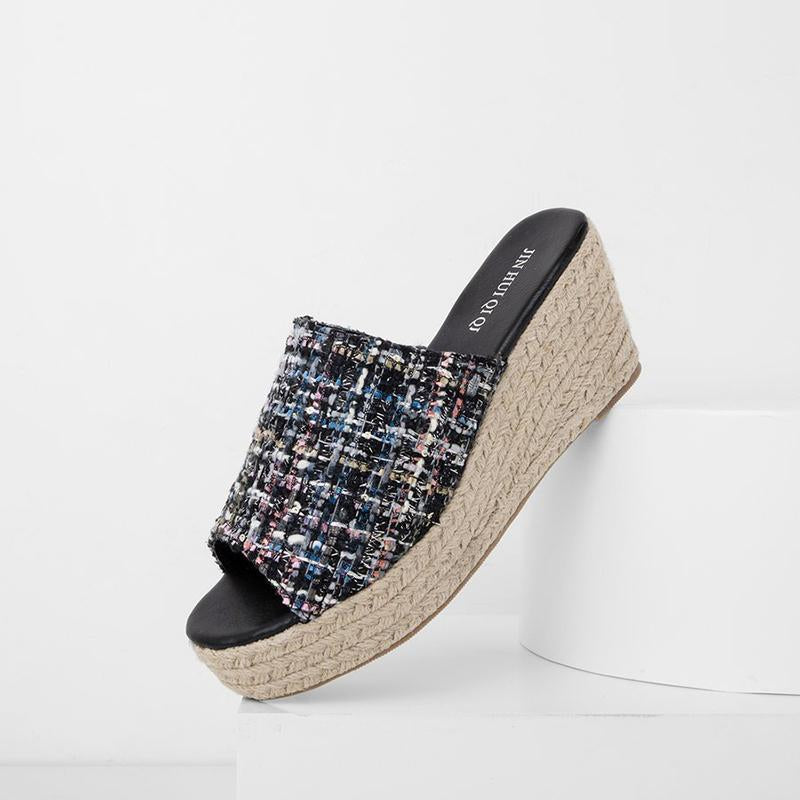 Woven Material Wedge Slippers Slip-On Espadrilles Sandals